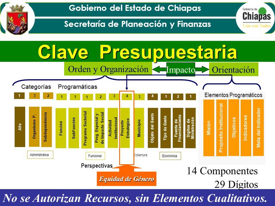 Clave Presupuestaria Orden y Organización. Orientación. Impacto. Categorías Programáticas. Proyecto Estratégico.