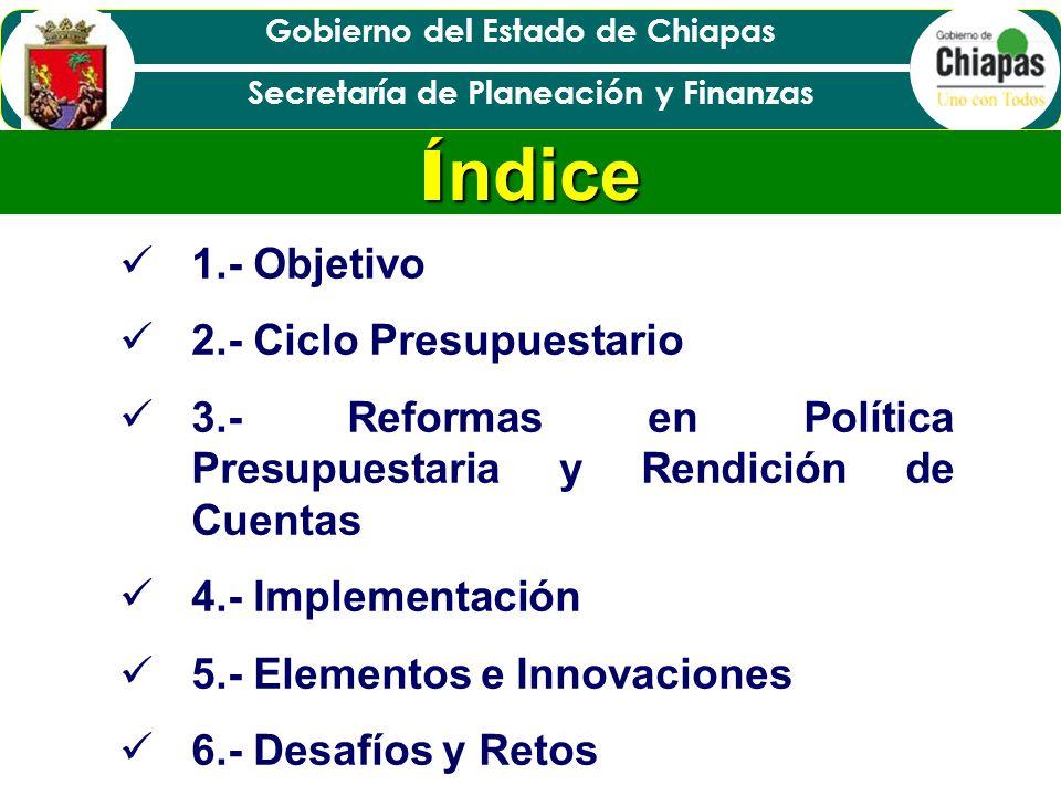 Índice 1.- Objetivo 2.- Ciclo Presupuestario