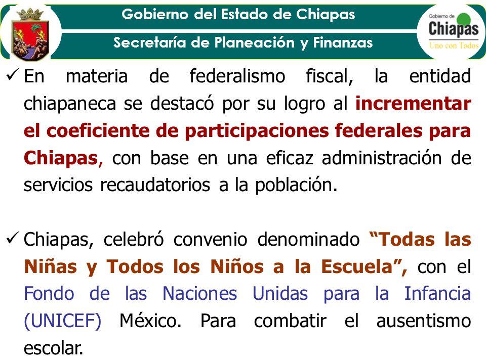 En materia de federalismo fiscal, la entidad chiapaneca se destacó por su logro al incrementar el coeficiente de participaciones federales para Chiapas, con base en una eficaz administración de servicios recaudatorios a la población.