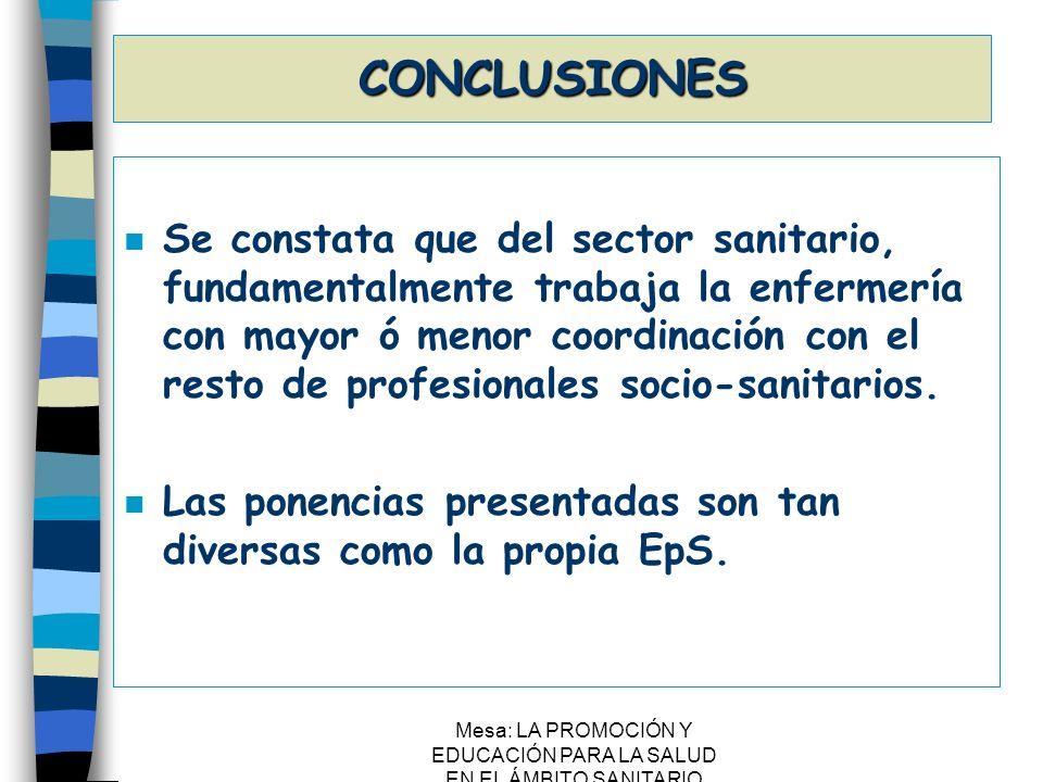 Mesa: LA PROMOCIÓN Y EDUCACIÓN PARA LA SALUD EN EL ÁMBITO SANITARIO