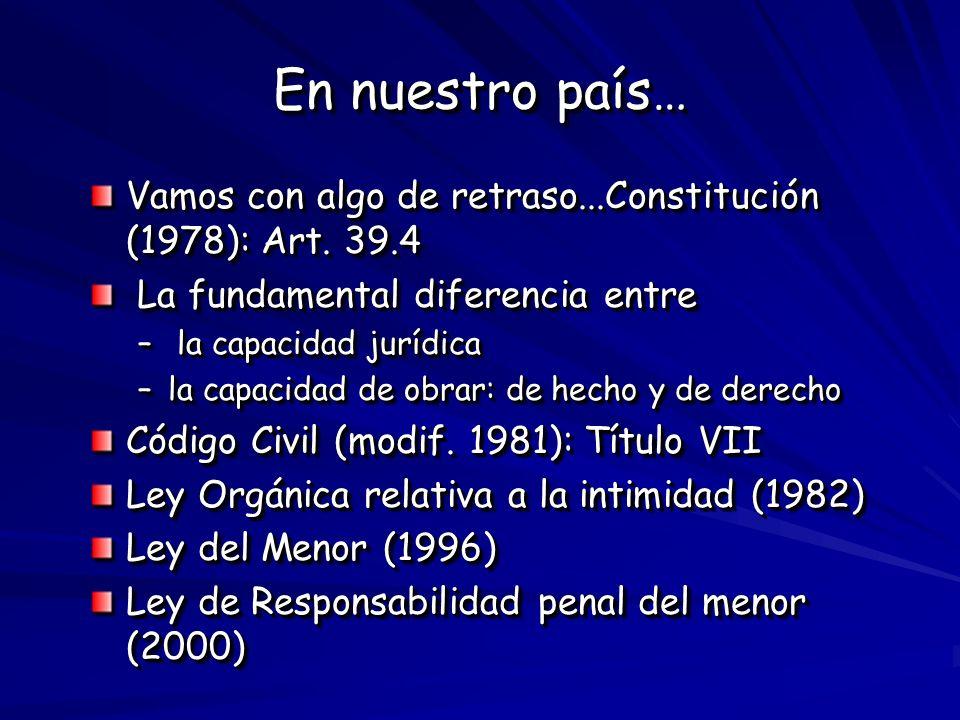 En nuestro país…Vamos con algo de retraso...Constitución (1978): Art. 39.4. La fundamental diferencia entre.