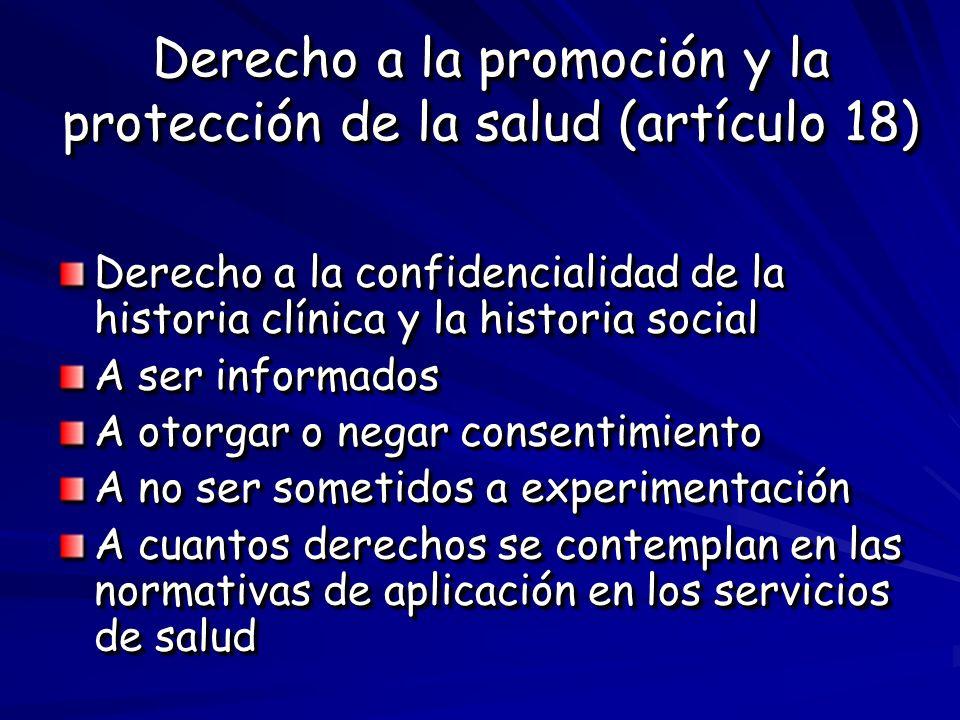Derecho a la promoción y la protección de la salud (artículo 18)