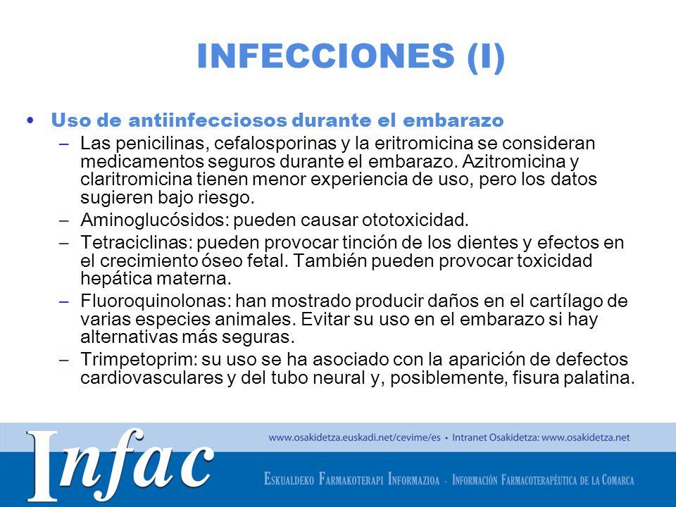 INFECCIONES (I) Uso de antiinfecciosos durante el embarazo