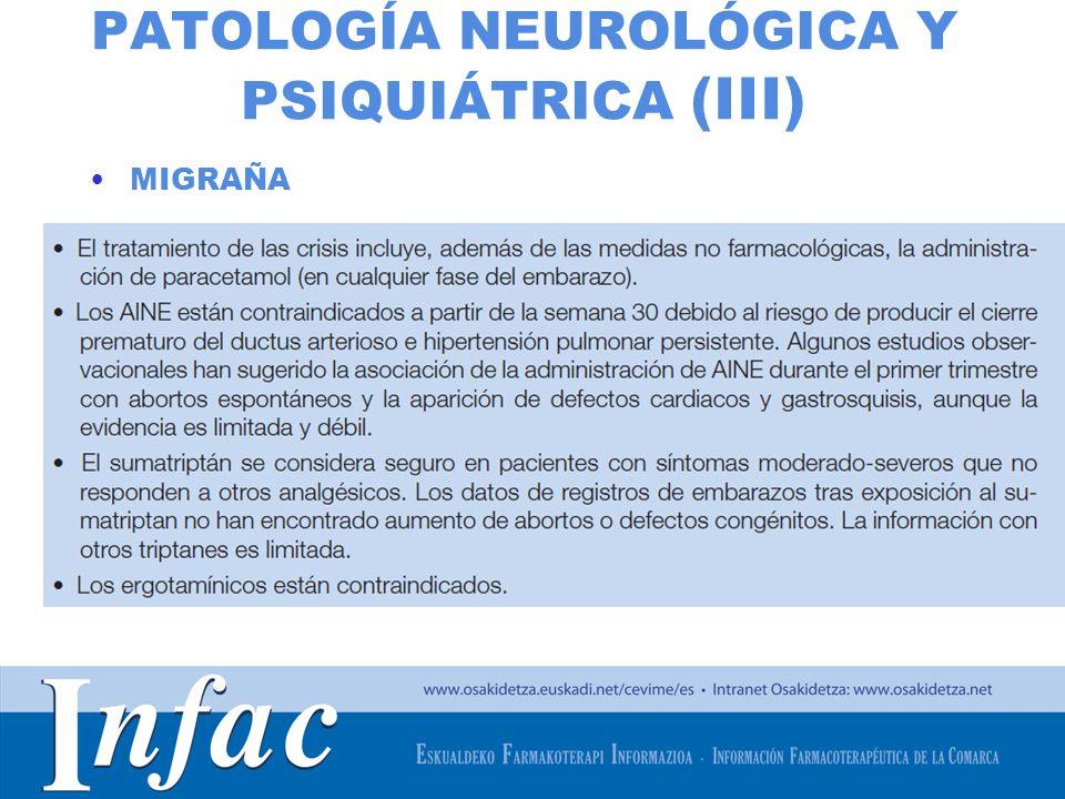 PATOLOGÍA NEUROLÓGICA Y PSIQUIÁTRICA (III)