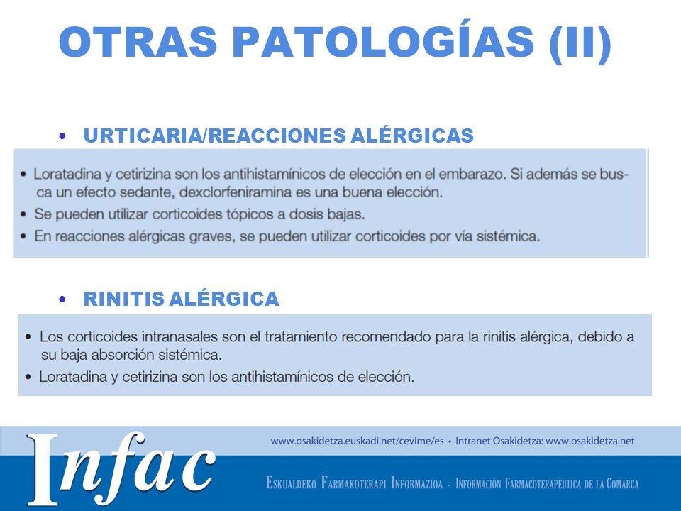 OTRAS PATOLOGÍAS (II) URTICARIA/REACCIONES ALÉRGICAS RINITIS ALÉRGICA