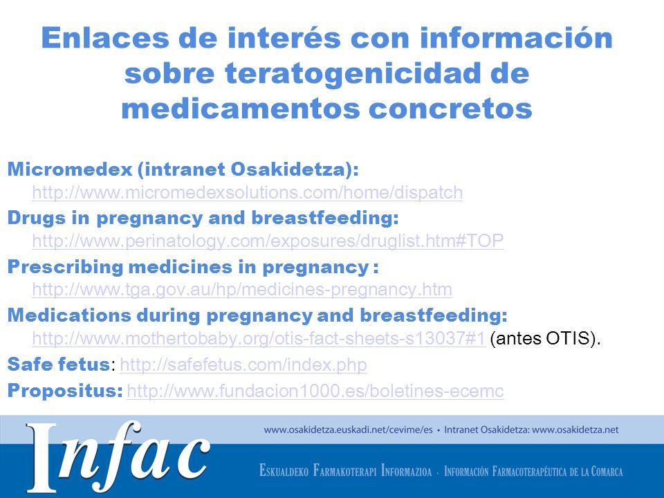 Enlaces de interés con información sobre teratogenicidad de medicamentos concretos