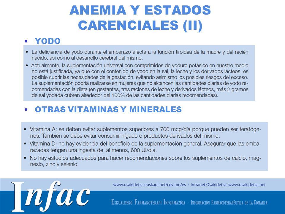 ANEMIA Y ESTADOS CARENCIALES (II)