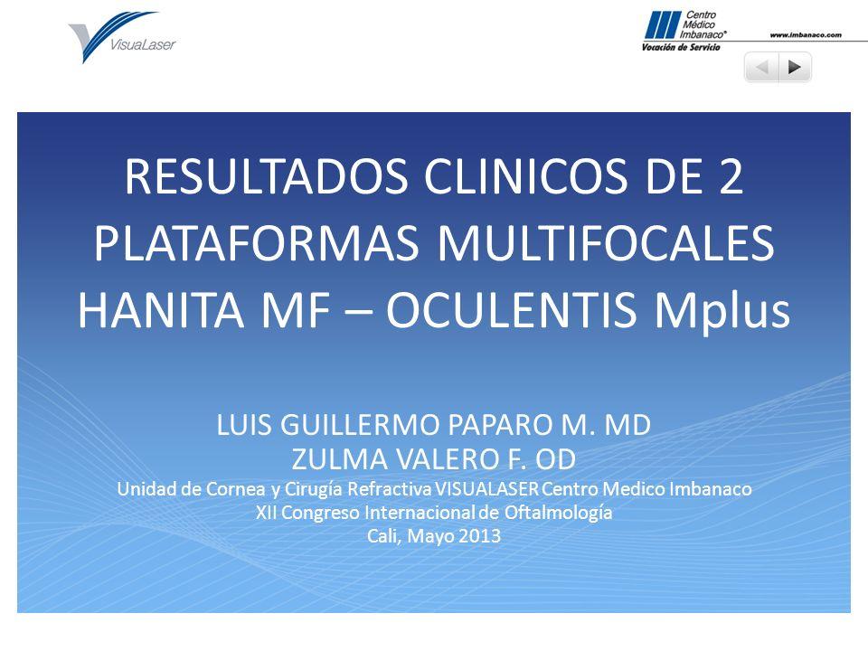 RESULTADOS CLINICOS DE 2 PLATAFORMAS MULTIFOCALES HANITA MF – OCULENTIS Mplus