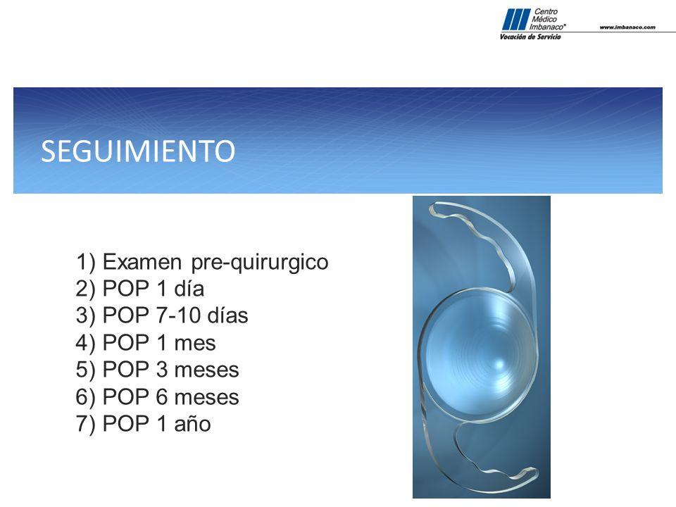 SEGUIMIENTO Examen pre-quirurgico POP 1 día POP 7-10 días POP 1 mes