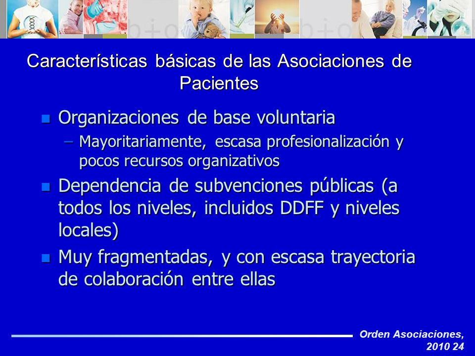 Características básicas de las Asociaciones de Pacientes