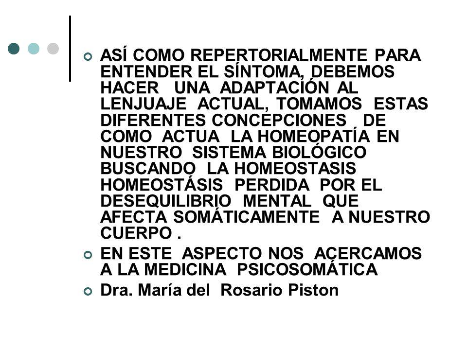 ASÍ COMO REPERTORIALMENTE PARA ENTENDER EL SÍNTOMA, DEBEMOS HACER UNA ADAPTACIÓN AL LENJUAJE ACTUAL, TOMAMOS ESTAS DIFERENTES CONCEPCIONES DE COMO ACTUA LA HOMEOPATÍA EN NUESTRO SISTEMA BIOLÓGICO BUSCANDO LA HOMEOSTASIS HOMEOSTÁSIS PERDIDA POR EL DESEQUILIBRIO MENTAL QUE AFECTA SOMÁTICAMENTE A NUESTRO CUERPO .