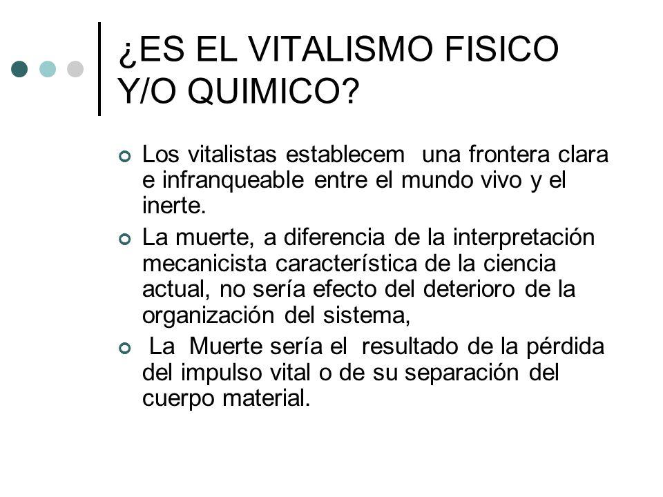 ¿ES EL VITALISMO FISICO Y/O QUIMICO