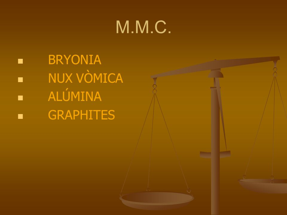 M.M.C. BRYONIA NUX VÒMICA ALÚMINA GRAPHITES