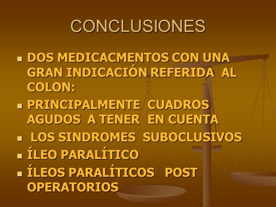 CONCLUSIONES DOS MEDICACMENTOS CON UNA GRAN INDICACIÓN REFERIDA AL COLON: PRINCIPALMENTE CUADROS AGUDOS A TENER EN CUENTA.