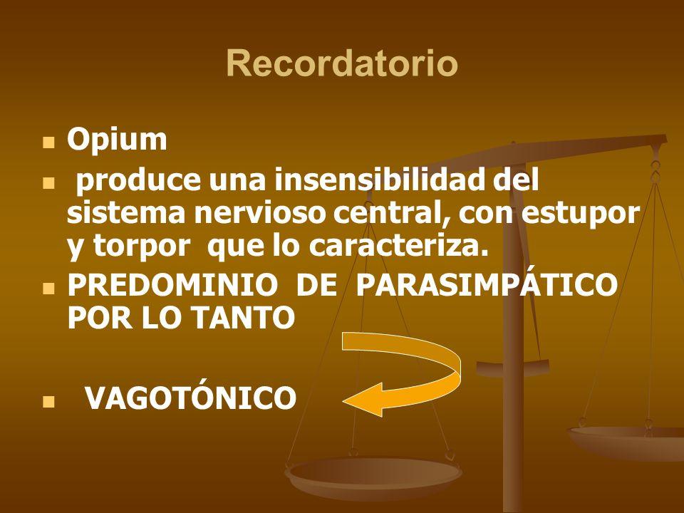 Recordatorio Opium. produce una insensibilidad del sistema nervioso central, con estupor y torpor que lo caracteriza.