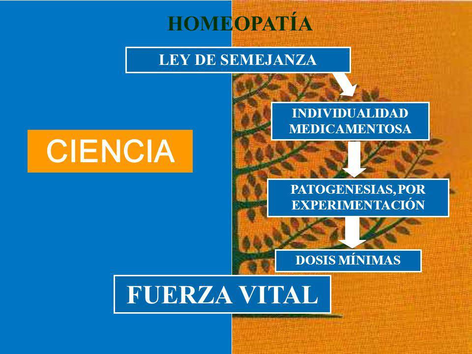 INDIVIDUALIDAD MEDICAMENTOSA PATOGENESIAS, POR EXPERIMENTACIÓN