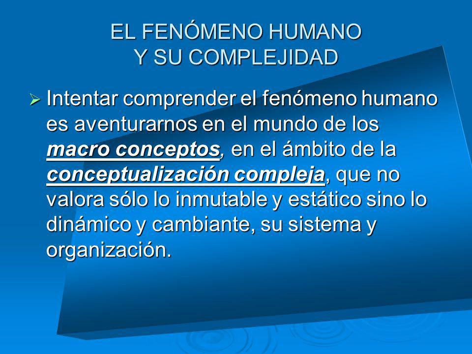 EL FENÓMENO HUMANO Y SU COMPLEJIDAD
