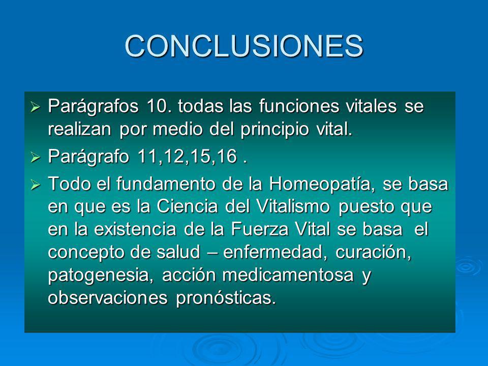 CONCLUSIONES Parágrafos 10. todas las funciones vitales se realizan por medio del principio vital. Parágrafo 11,12,15,16 .