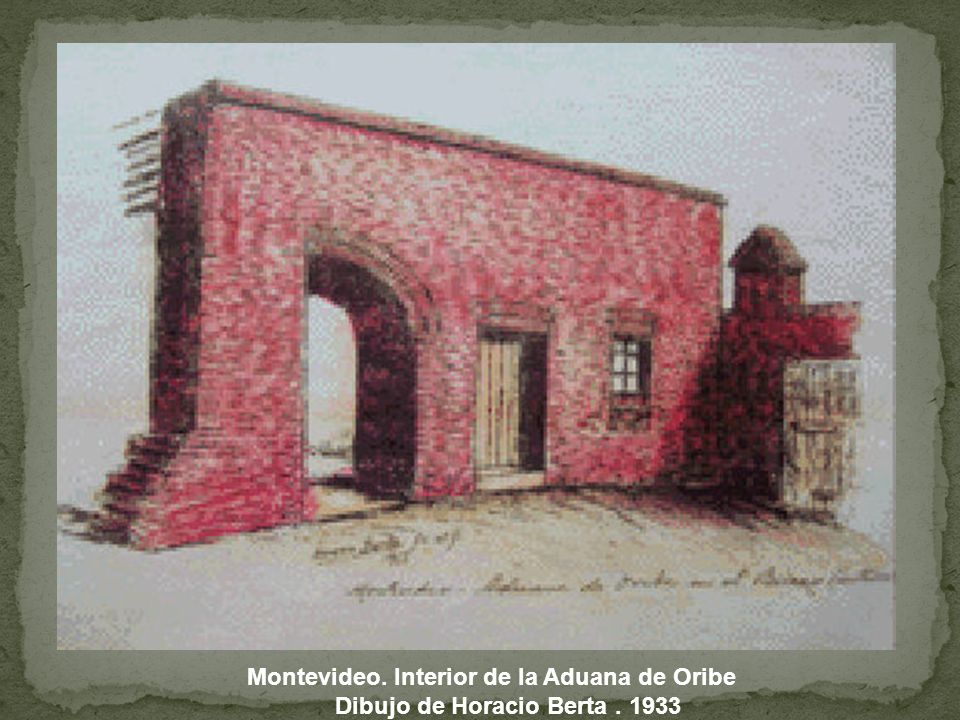 Montevideo. Interior de la Aduana de Oribe Dibujo de Horacio Berta