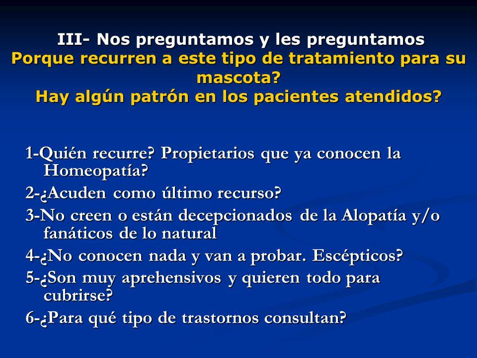 1-Quién recurre Propietarios que ya conocen la Homeopatía