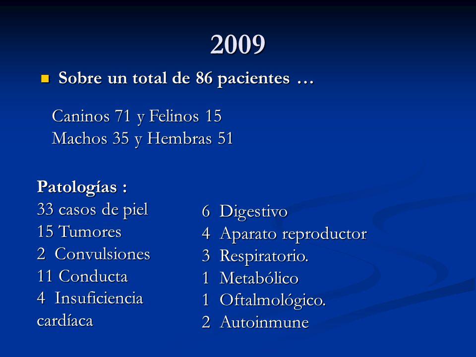 2009 Sobre un total de 86 pacientes … Caninos 71 y Felinos 15