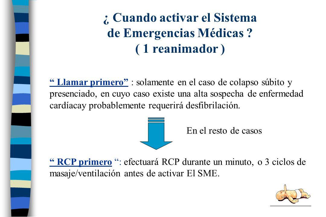 ¿ Cuando activar el Sistema de Emergencias Médicas ( 1 reanimador )