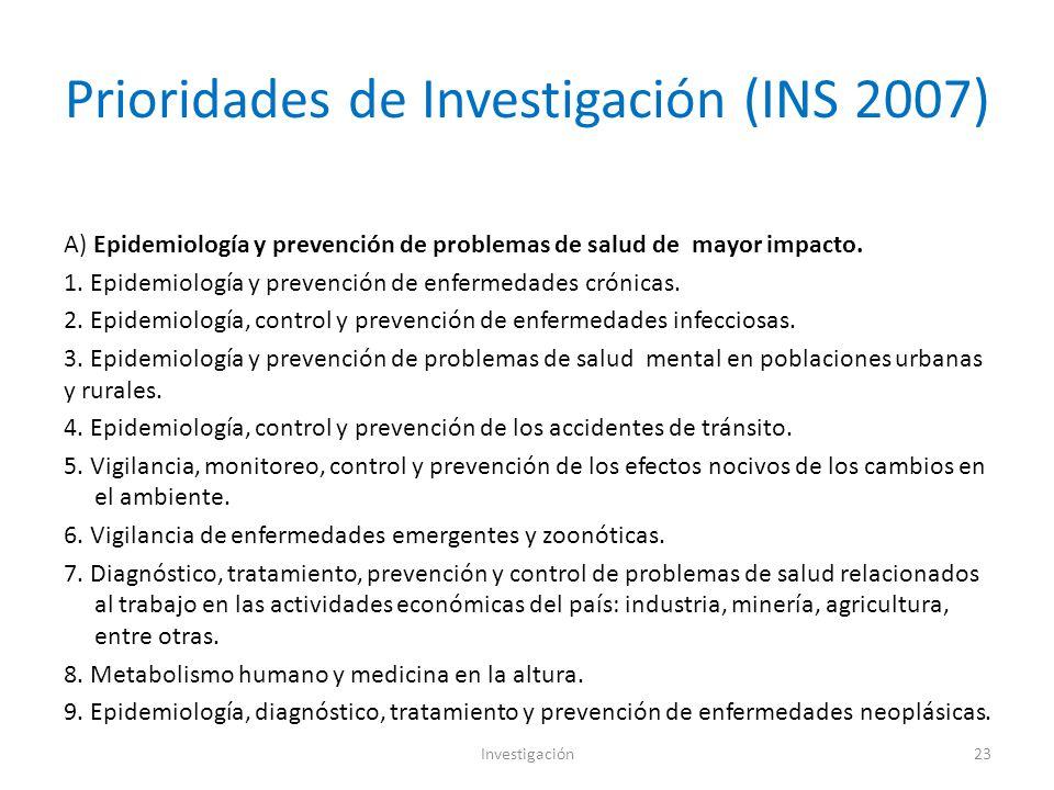 Prioridades de Investigación (INS 2007)