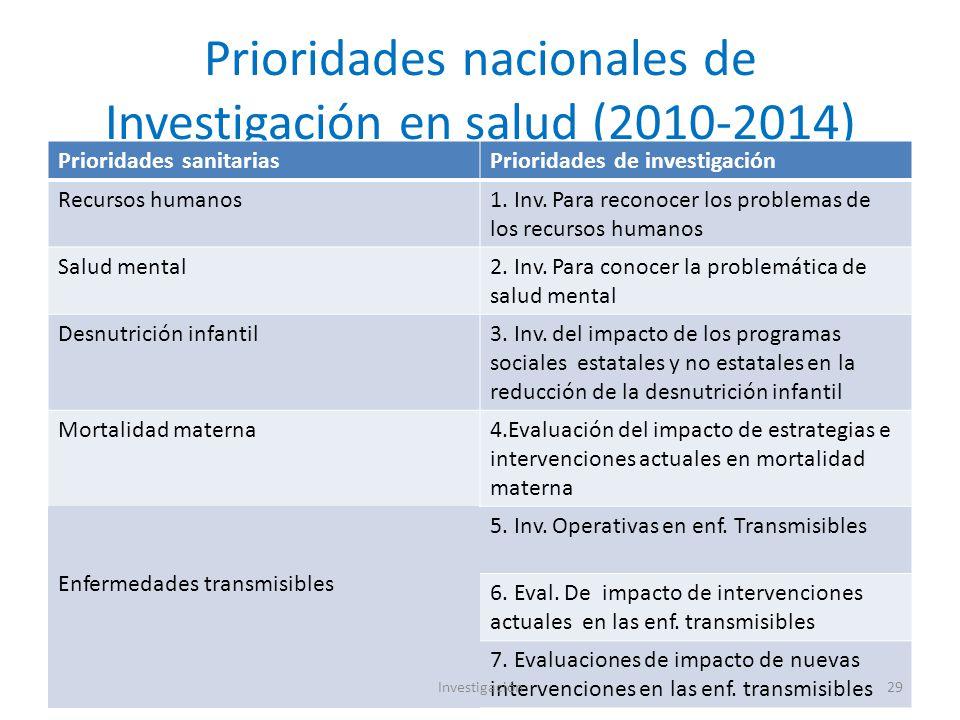 Prioridades nacionales de Investigación en salud (2010-2014)