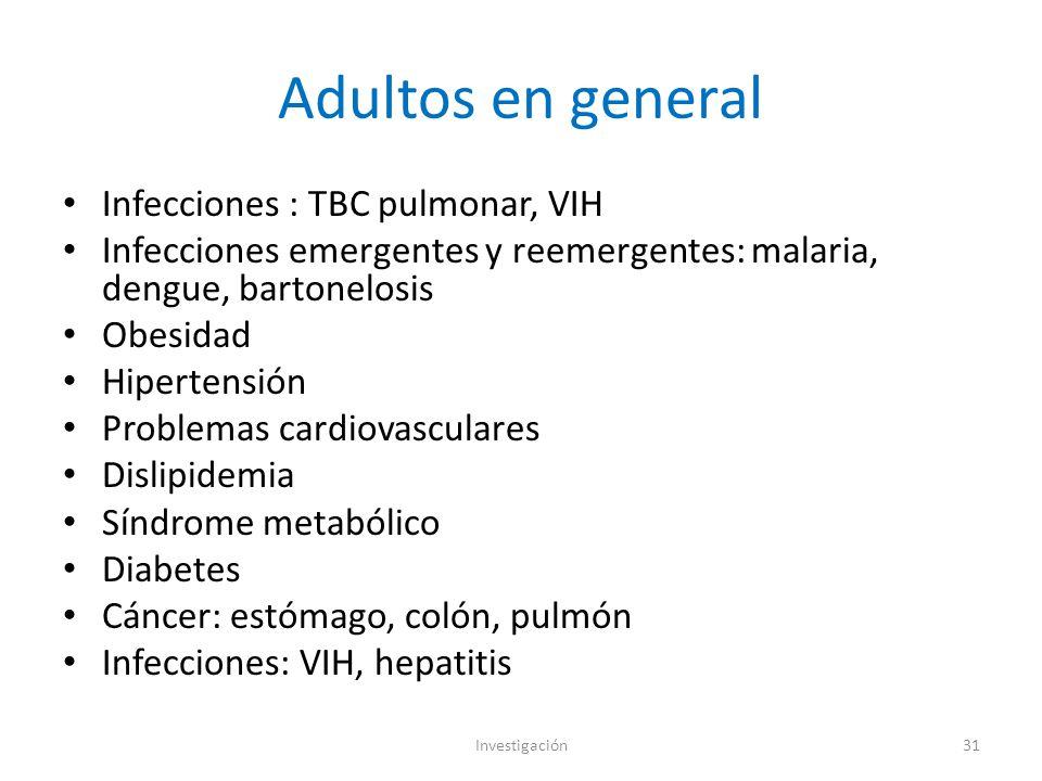 Adultos en general Infecciones : TBC pulmonar, VIH