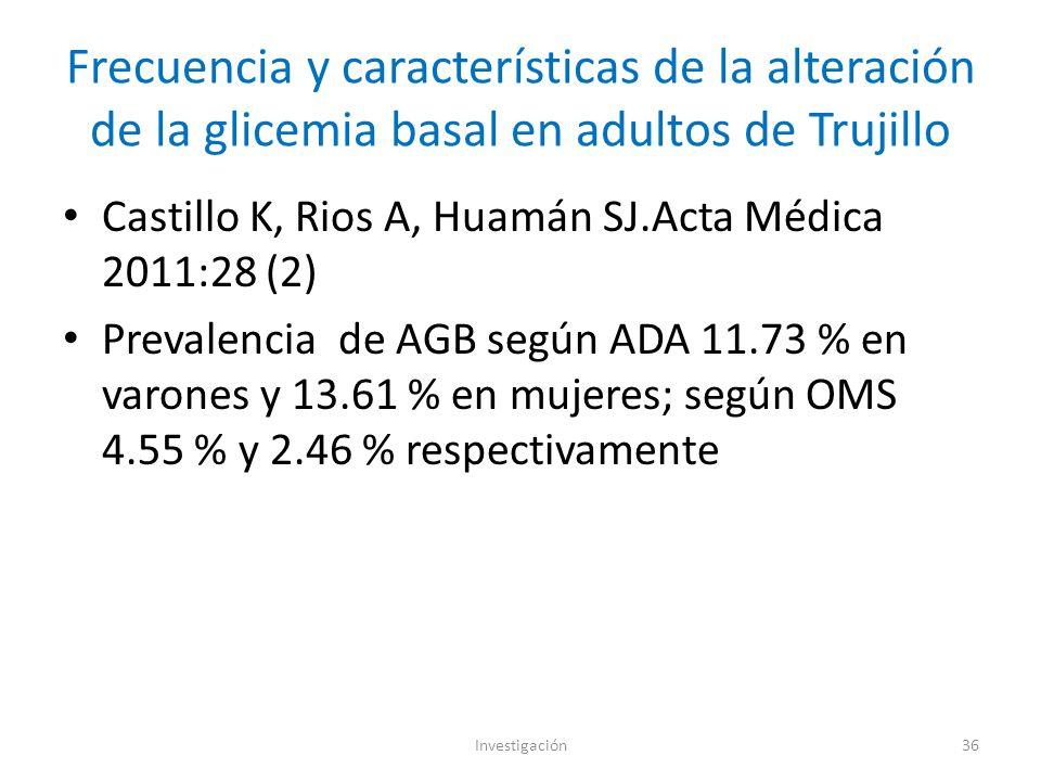 Frecuencia y características de la alteración de la glicemia basal en adultos de Trujillo