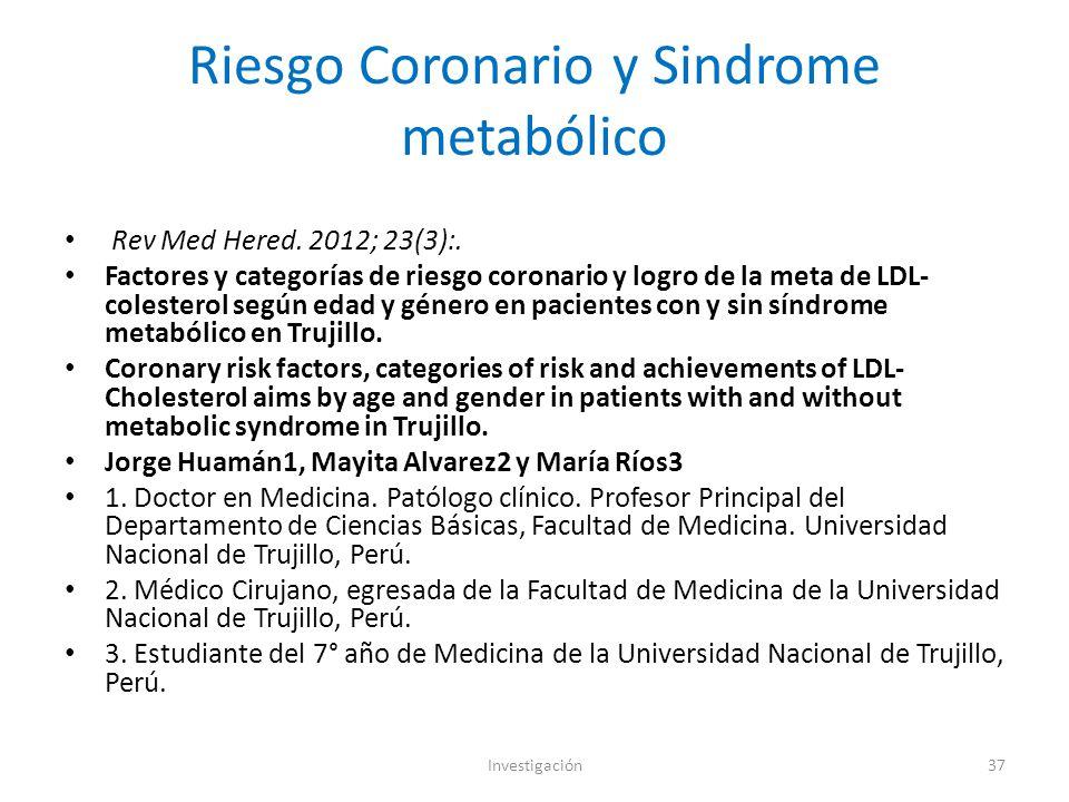 Riesgo Coronario y Sindrome metabólico