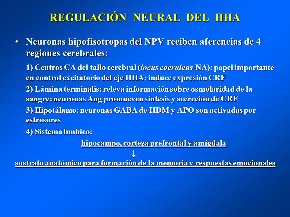 REGULACIÓN NEURAL DEL HHA