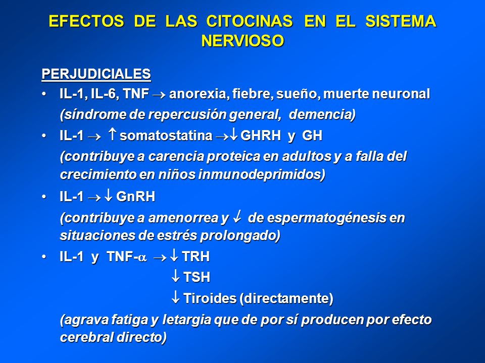 EFECTOS DE LAS CITOCINAS EN EL SISTEMA NERVIOSO