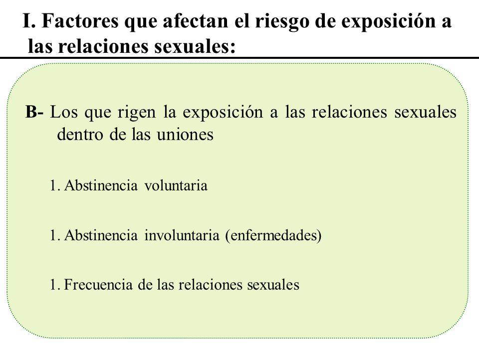 I. Factores que afectan el riesgo de exposición a