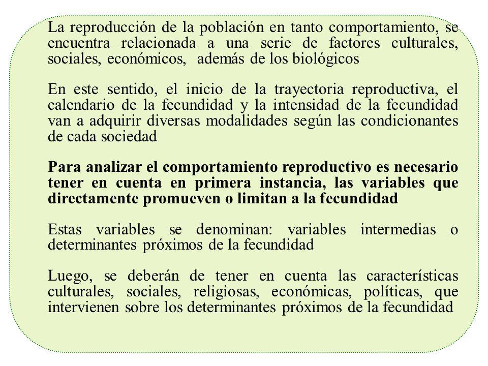 La reproducción de la población en tanto comportamiento, se encuentra relacionada a una serie de factores culturales, sociales, económicos, además de los biológicos