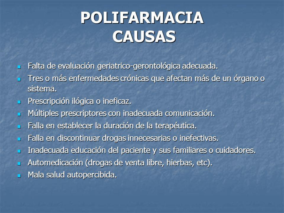 POLIFARMACIA CAUSAS Falta de evaluación geriatrico-gerontológica adecuada. Tres o más enfermedades crónicas que afectan más de un órgano o sistema.