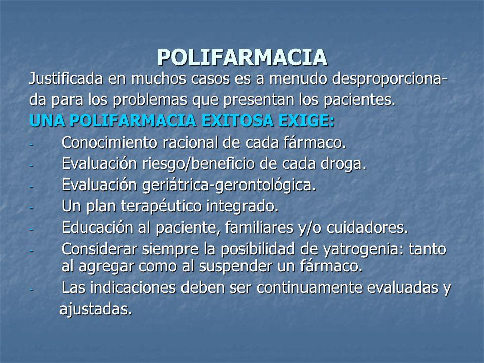 POLIFARMACIA Justificada en muchos casos es a menudo desproporciona-