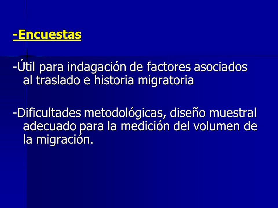 -Encuestas -Útil para indagación de factores asociados al traslado e historia migratoria.