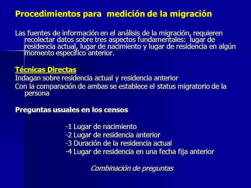 Procedimientos para medición de la migración