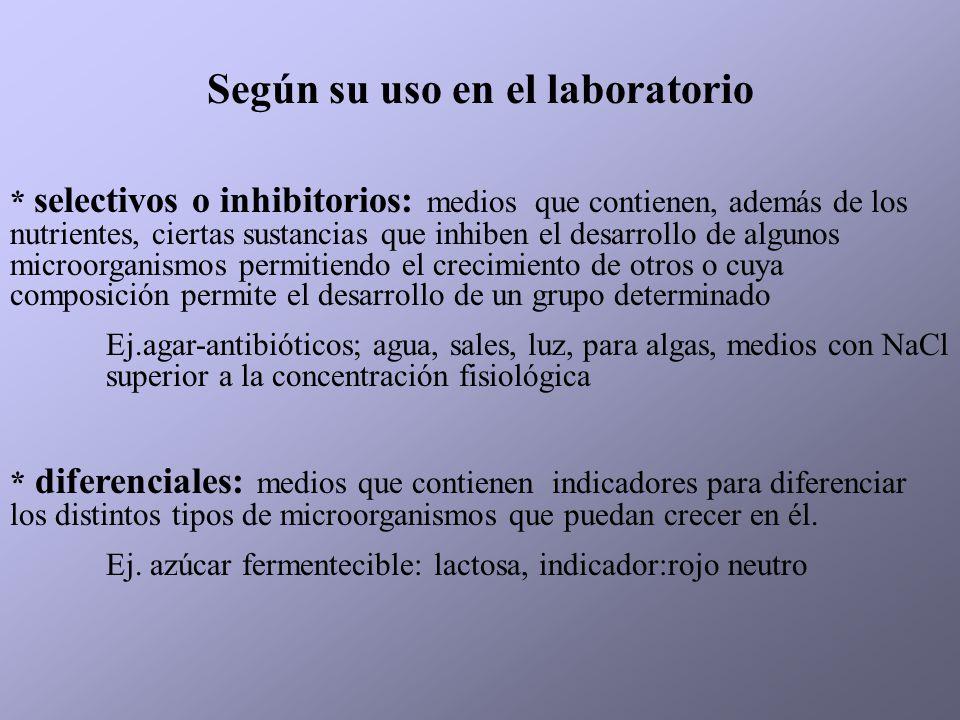 Según su uso en el laboratorio
