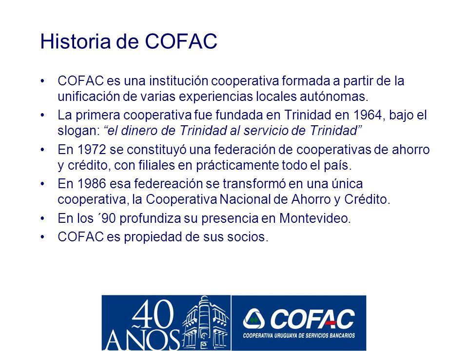 Historia de COFAC COFAC es una institución cooperativa formada a partir de la unificación de varias experiencias locales autónomas.
