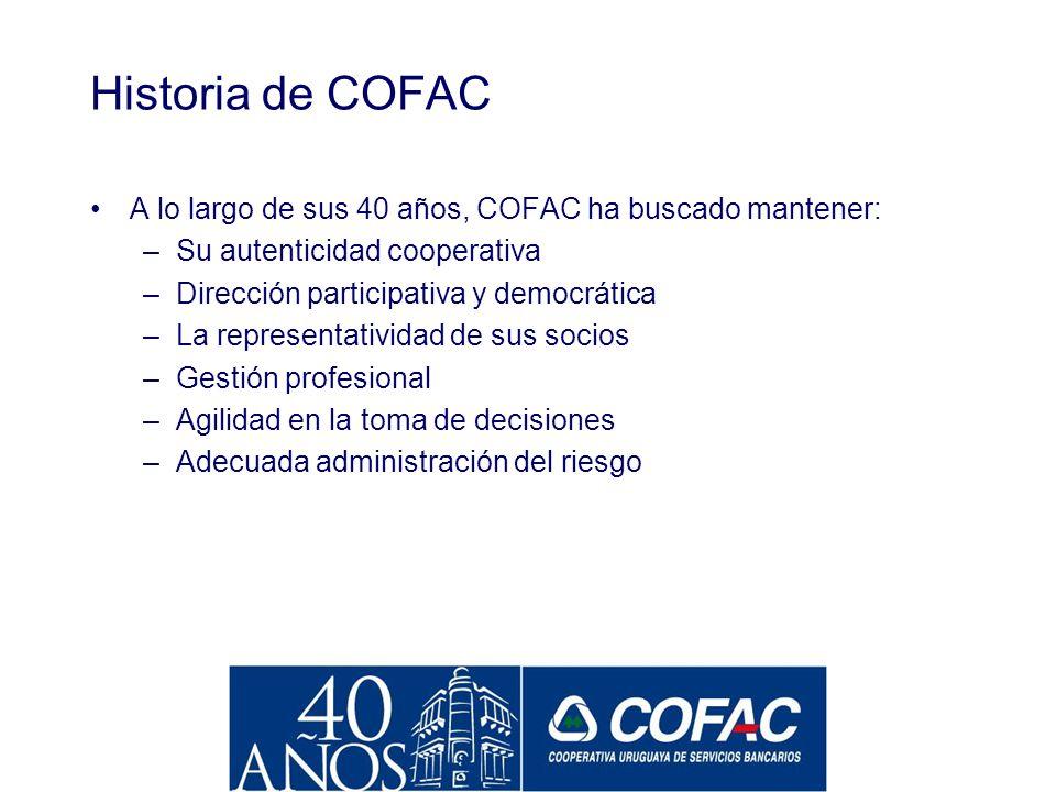Historia de COFAC A lo largo de sus 40 años, COFAC ha buscado mantener: Su autenticidad cooperativa.