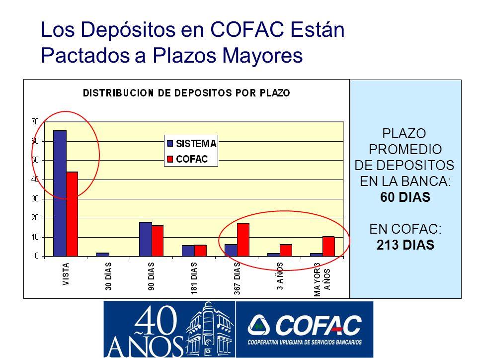 Los Depósitos en COFAC Están Pactados a Plazos Mayores