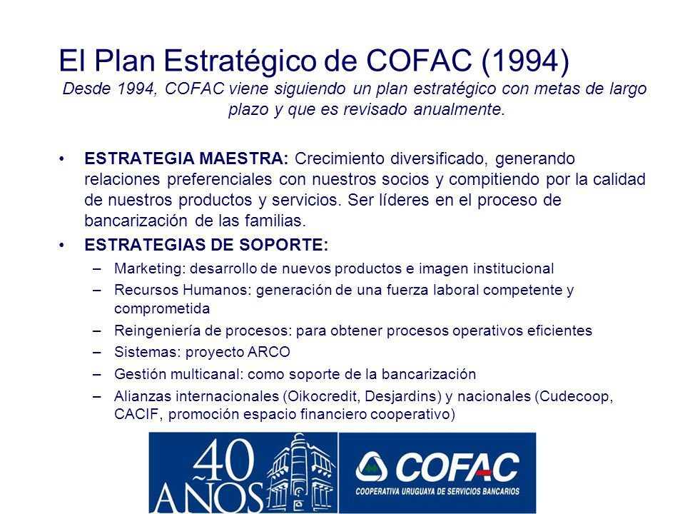 El Plan Estratégico de COFAC (1994)