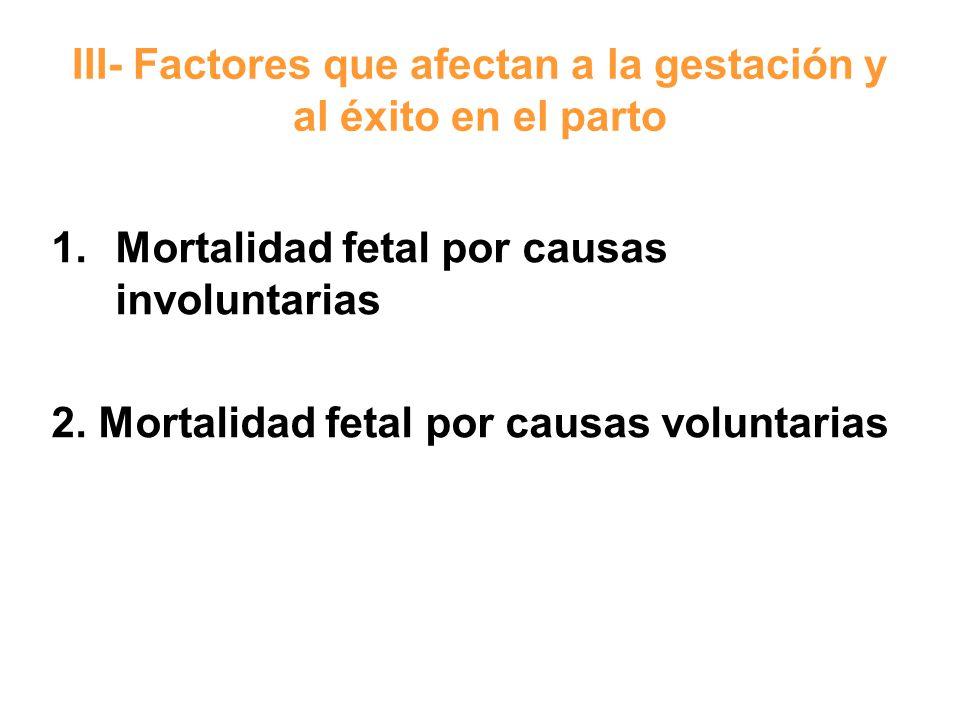 III- Factores que afectan a la gestación y al éxito en el parto