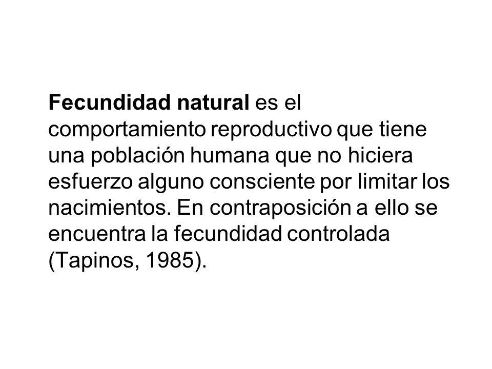 Fecundidad natural es el comportamiento reproductivo que tiene una población humana que no hiciera esfuerzo alguno consciente por limitar los nacimientos.