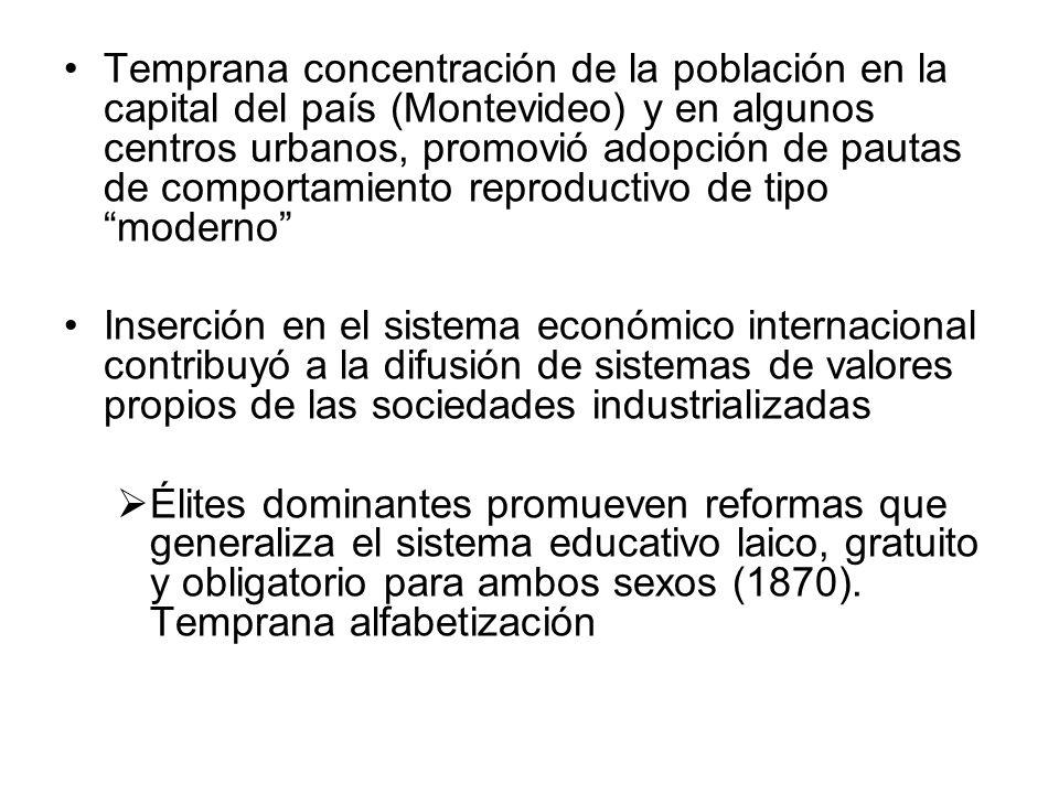 Temprana concentración de la población en la capital del país (Montevideo) y en algunos centros urbanos, promovió adopción de pautas de comportamiento reproductivo de tipo moderno