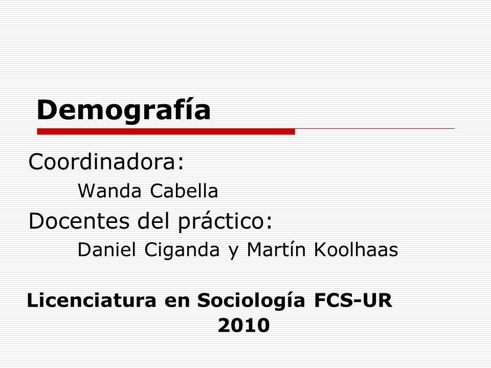 Demografía Coordinadora: Docentes del práctico: Wanda Cabella