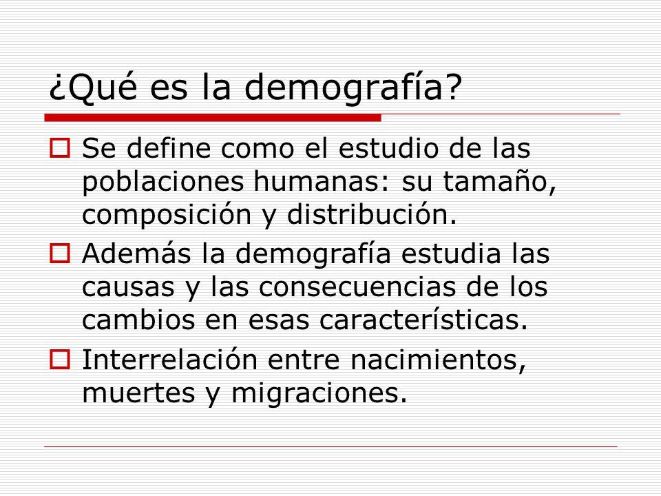 ¿Qué es la demografía Se define como el estudio de las poblaciones humanas: su tamaño, composición y distribución.