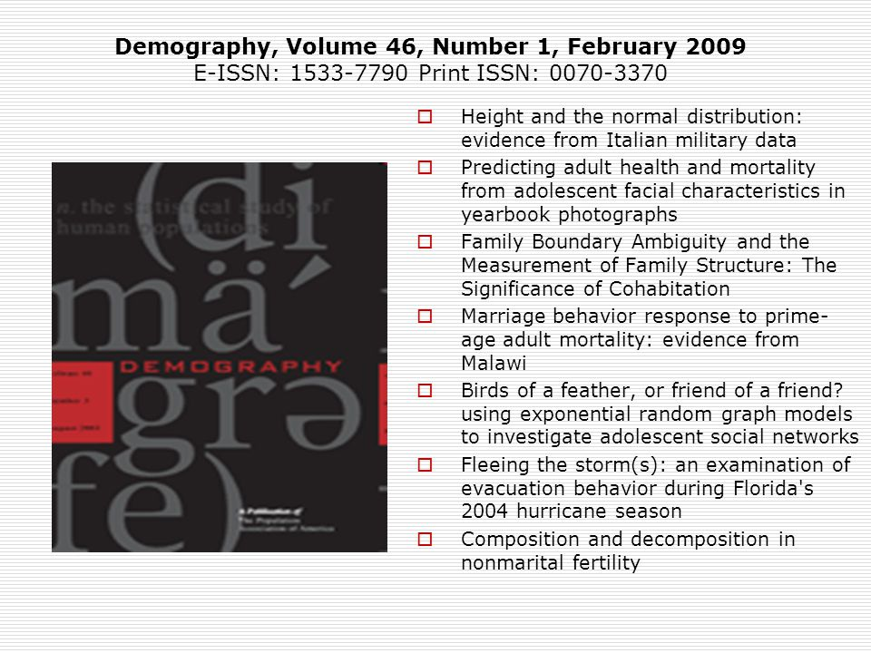 Demography, Volume 46, Number 1, February 2009
